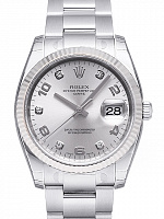 Rolex 115234 Date 34 Silver Diamond Oyster