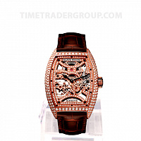 Franck Muller Skeleton Gemstone Brown Leather 8880 B S6 SQT D MVT D